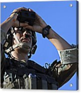 U.s. Special Operations Soldier Looks Acrylic Print by Stocktrek Images