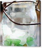 Usa, New York State, New York City, Brooklyn, Sea Glass In Jar Acrylic Print by Jamie Grill