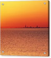 Usa,chicago,lake Michigan,orange Sunset,city Skyline In Distance Acrylic Print by Frank Cezus