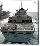 Usns Supply Conducts A Replenishment Acrylic Print by Stocktrek Images