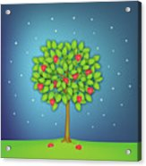 Valentine Tree With Hearts And Stars Acrylic Print by OldBag Illustrations