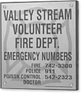 Valley Stream Fire Department In Black And White Acrylic Print by Rob Hans