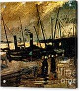 Van Gogh Le Quai Huile Sur Toile 1885  Acrylic Print by Pg Reproductions