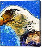 Van Gogh.s American Eagle Under A Starry Night . 40d6715 Acrylic Print by Wingsdomain Art and Photography