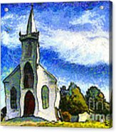 Van Gogh.s Church On The Hill 7d12437 Acrylic Print by Wingsdomain Art and Photography