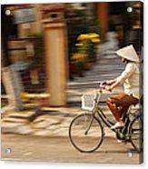 Vietnamese Woman Riding A Bicycle Acrylic Print by Panya Jampatong
