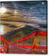 View Of Sun Into Sea At Marin Headlands Acrylic Print by Image by Sean Foster