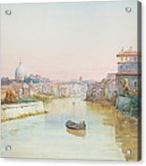 View Of The Tevere From The Ponte Sisto  Acrylic Print by Ettore Roesler Franz