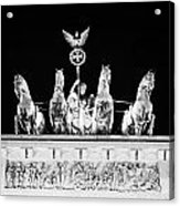 viktoria with quadriga on top of the Brandenburg gate at night Berlin Germany Acrylic Print by Joe Fox