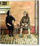 Village Gossip Acrylic Print by Linda Nielsen