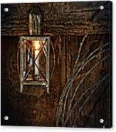 Vintage Lantern Hung In A Barn Acrylic Print by Jill Battaglia