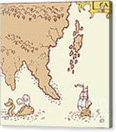 Vintage Map Treasure Island Tall Ship Whale Acrylic Print by Aloysius Patrimonio
