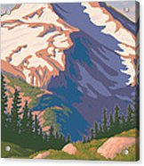 Vintage Mount Jefferson Travel Poster Acrylic Print by Mitch Frey