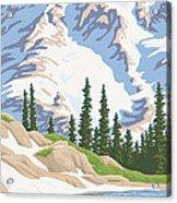 Vintage Mount Rainier Travel Poster Acrylic Print by Mitch Frey