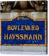 Vintage Paris Street Sign Acrylic Print by Andrew Fare