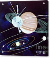 Voyager Saturn Flyby Artwork Acrylic Print by Science Source