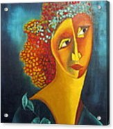 Waiting For Partner Orange Woman Blue Cubist Face Torso Tinted Hair Bold Eyes Neck Flower On Dress Acrylic Print by Rachel Hershkovitz