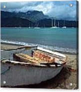 Waiting To Row In Hanalei Bay Acrylic Print by Kathy Yates
