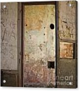 Walls With Graffiti In An Abandoned House. Acrylic Print by Bernard Jaubert