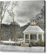 Warm Gazebo On A Cold Day Acrylic Print by Brett Engle
