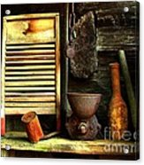 Washboard Still Life Acrylic Print by Julie Dant