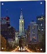 Washington Monument And City Hall Acrylic Print by John Greim