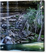 Water And Lights At Hamilton Pool Acrylic Print by Lisa  Spencer