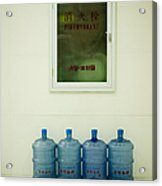 Water Cooler Bottles And Fire Hydrant Cabinet Acrylic Print by Andersen Ross