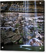 Water Flow Over A Rock At Hamilton Pool Acrylic Print by Lisa  Spencer