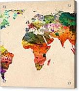 Watercolor World Map  Acrylic Print by Mark Ashkenazi