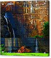 Watson Lake Waterfall Acrylic Print by Julie Lueders