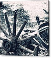 Weathered Wagon Wheel Broken Down Acrylic Print by Tracie Kaska