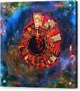 Wee Manhattan Planet - Artist Rendition Acrylic Print by Nikki Marie Smith