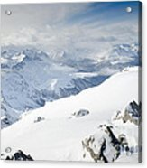 Weissfluhgipfel Summit View From The Summit Across Davos Acrylic Print by Andy Smy