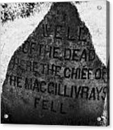 well of the dead and clan macgillivray memorial stone on Culloden moor battlefield site highlands sc Acrylic Print by Joe Fox