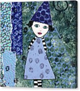 Whimsical Blue Girl Mixed Media Collage  Acrylic Print by Karen Pappert