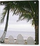 White Beach Chairs Line The Shore Acrylic Print by Stephen Alvarez