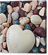 White Heart Stone Acrylic Print by Garry Gay