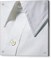 White Shirt Collar Detail. Acrylic Print by Ballyscanlon