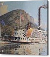 William G Muller Lithograph Towboat Syracuse  Acrylic Print by Jake Hartz