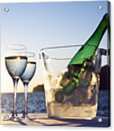 Wine Glasses And Bottle Outdoors Acrylic Print by Bill Holden