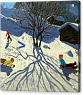 Winter Hillside Morzine France Acrylic Print by Andrew Macara