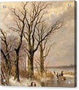 Winter Landscape With Faggot Gatherers Conversing On A Frozen Lake Acrylic Print by Josephus Gerardus Hans