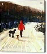 Winter Road Quebec Laurentian Landscape Acrylic Print by Carole Spandau