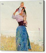 Woman And Child In A Meadow Acrylic Print by Hector Caffieri
