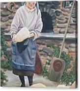 Woman Baking Bread  Acrylic Print by Anna Poelstra Traga