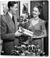 Woman Giving Gift To Man, (b&w) Acrylic Print by George Marks