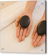 Woman Massage Therapist Hands Holding Acrylic Print by James Forte