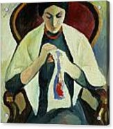 Woman Sewing Acrylic Print by August Macke