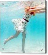 Woman Underwater Acrylic Print by MotHaiBaPhoto Prints